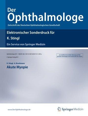 Elektronischer Sonderdruck für Akute Myopie K. Stingl