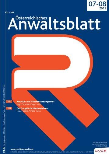 Anwaltsblatt 2011/0708 - Österreichischer Rechtsanwaltskammertag