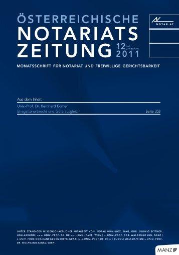 Österreichische Notariatszeitung 12/2011 - Über die Notare