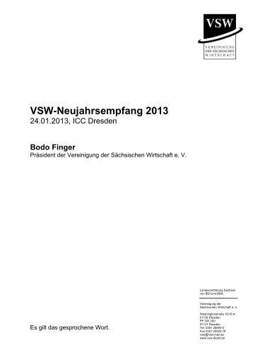 Rede Bodo Finger - VSW | Vereinigung der sächsischen Wirtschaft