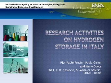 Research activities on hydrogen storage in Italy Pier
