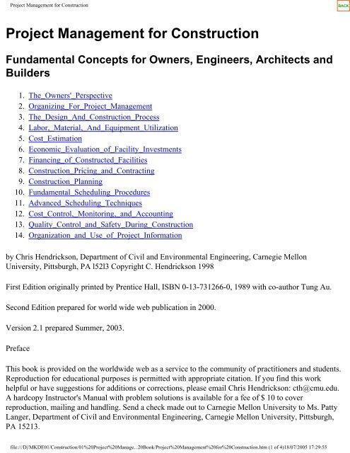 Project Management For Construction Chris Hendrickson