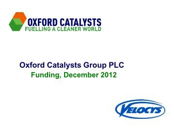 Oxford Catalysts Group PLC Funding, December 2012