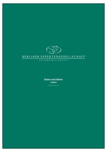 1. Quartal 2001 - Berliner Effektengesellschaft AG