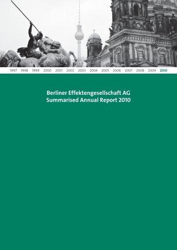 GB BEG Final englisch.indd - Berliner Effektengesellschaft AG