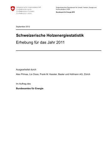 Schweizerische Holzenergiestatistik - Bundesamt für Energie BFE