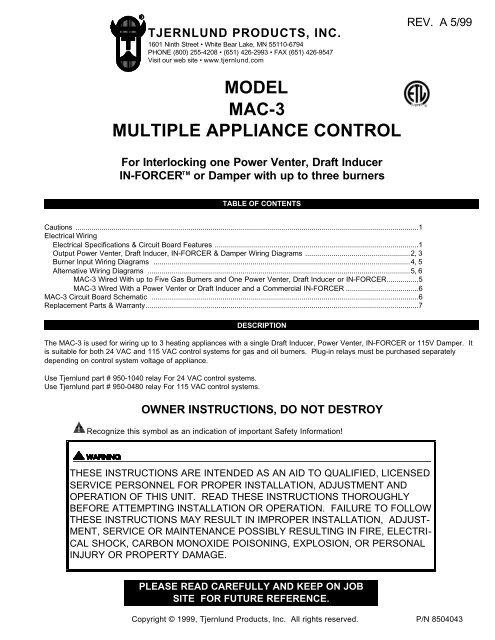 MAC-3 Control (Discontinued) 8504043 Rev A 05 - Tjernlund ... on
