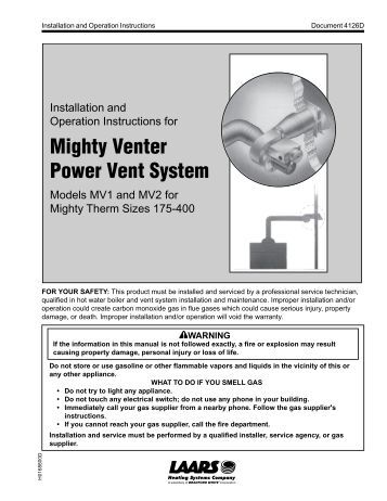 pva36 power vent adaptor kit installation mighty venter power vent system installation and operation laars