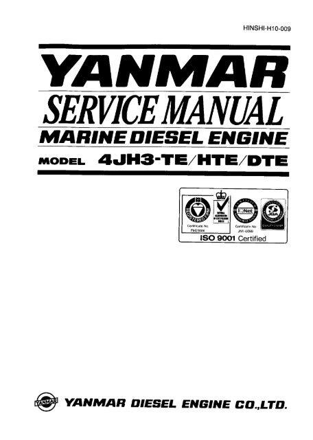 Yanmar Service Manual 4JH3 Series - Zanshin
