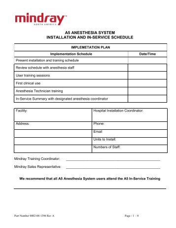 a5 anesthesia system installation and in-service schedule - Mindray
