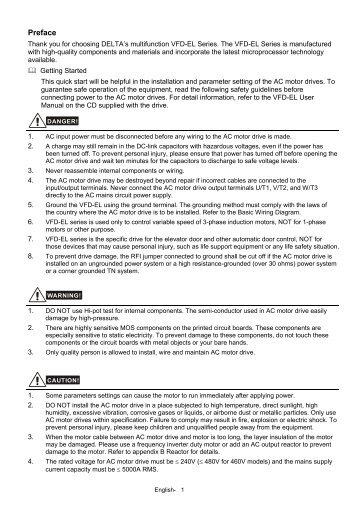 Delta Vfd E Quick Start Manual Womack Machine Supply Company