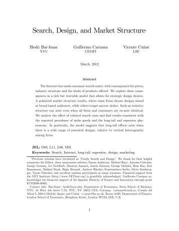 Search, Design, and Market Structure1 - Cemfi