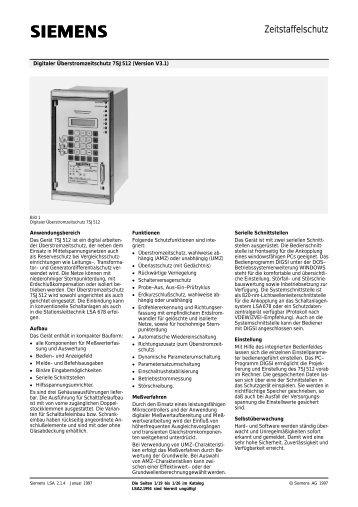 Zeitstaffelschutz - SIPROTEC