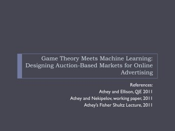 Designing Online and Offline Marketplaces Using Theory, Models ...