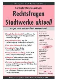 Rechtsfragen Stadtwerke aktuell - Hohmann