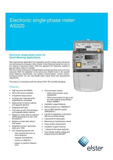 Elster AS220 Technical Data - Saving Energy Online
