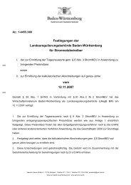 Festlegungen der Landesregulierungsbehörde Baden-Württemberg ...