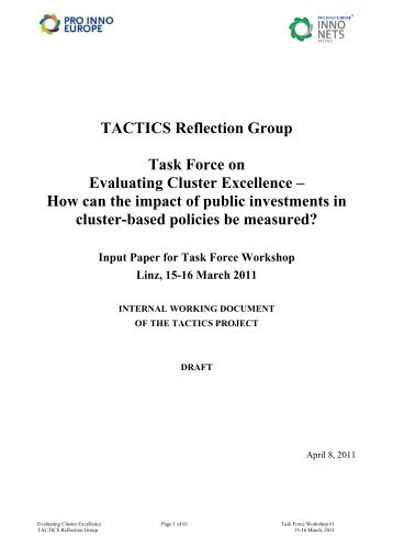 TACTICS Reflection Group Task Force on Evaluating Cluster ...