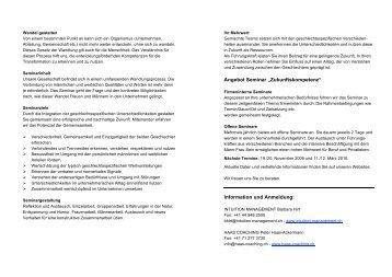 """Angebot Seminar """"Zukunftskompetenz"""" Information und ... - Peter Haas"""