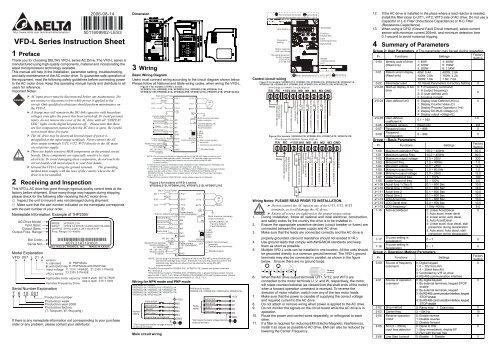 Vfd L Series Instruction Sheet
