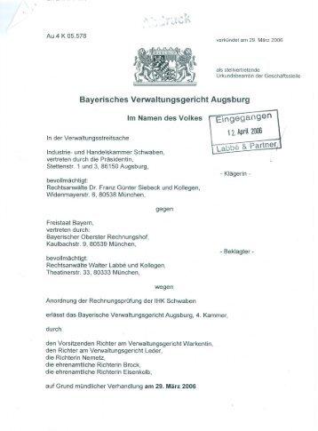 Urteil mit Begründung - Bayerischer Oberster Rechnungshof - Bayern
