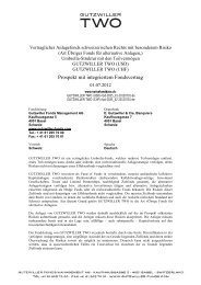 Prospekt mit integr. Fondsvertrag - Gutzwiller Fonds Management AG