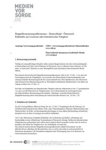Doppelbesteuerungsabkommen (DBA) Deutschland - Österreich