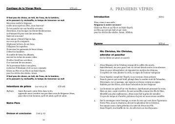 A. PREMIERES VÊPRES - Congrégation du Grand-Saint-Bernard