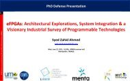 eFPGAs: Architectural Explorations, System Integration & a ... - TEL