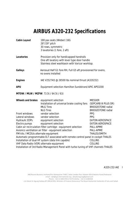 AIRBUS A320-232 Specifications - Aircraft-Trading-Consortium