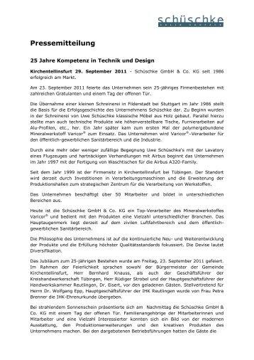 Rückblick Firmenjubiläum - Schüschke GmbH & Co. KG