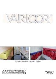 Technische Daten Zahnbecherleiste aus VARICOR