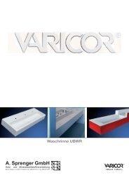 Technische Daten Waschrinne UBWR - Varicor