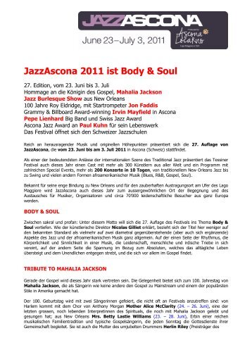 JazzAscona 2011 - JazzAscona 27th Edition - Body & Soul | Home