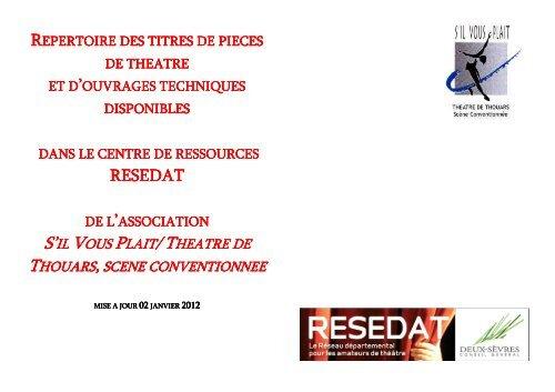 Répertoire Piéces Du Fond Resedat Du Théâtre De Thouars
