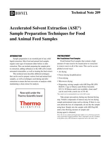 Accelerated Solvent Extraction (ASE) Sample Preparation ... - Dionex