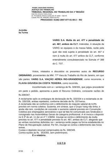 VARIG S.A. Multa do art. 477 e penalidade do art. 467, ambos da ...