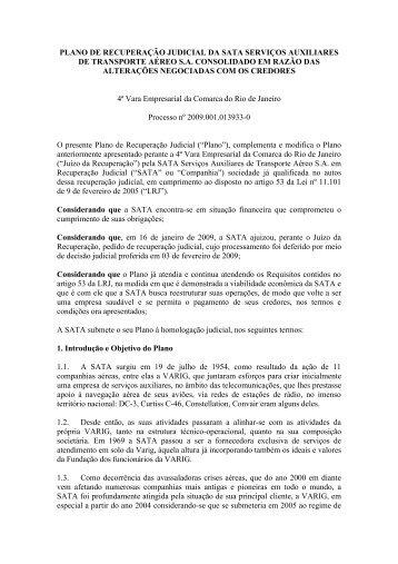 PLANO DE RECUPERAÇÃO JUDICIAL DA SATA ... - Fentac