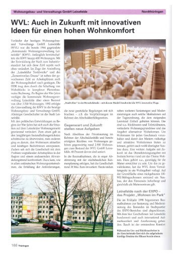 WVL: Auch in Zukunft mit innovativen - Stadt Leinefelde Worbis