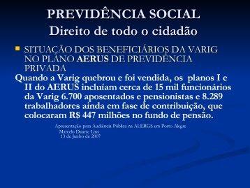 Solução para o problema AERUS - Assembléia Legislativa