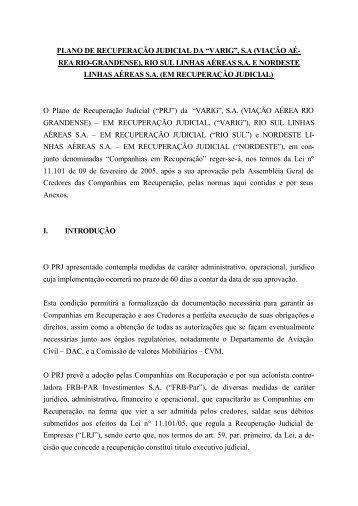 """PLANO DE RECUPERAÇÃO JUDICIAL DA """"VARIG"""", S.A ... - Acvar"""