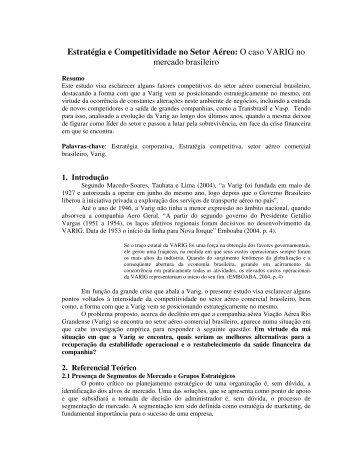 Estratégia e Competitividade no Setor Aéreo: O caso VARIG ... - aedb