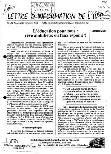 Lettre d'information de l'IIPE, vol.9, no.3; IIEP ... - unesdoc - Unesco