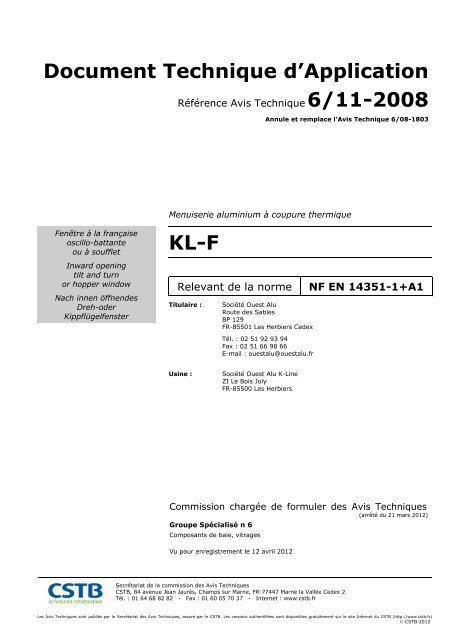 Kl F Document Technique Dapplication K Line