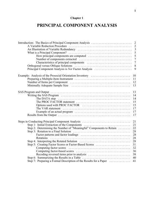 PRINCIPAL COMPONENT ANALYSIS - SAS