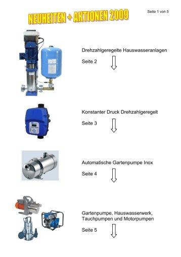 Drehzahlgeregelte Hauswasseranlagen Seite 2 Konstanter Druck ...