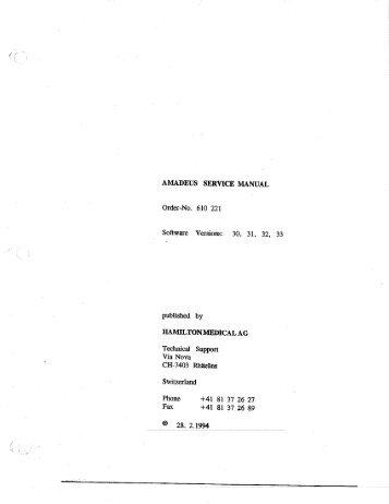 Amadeus Installation Manual