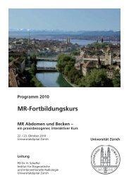 MR-Fortbildungskurs - Fortbildung - UniversitätsSpital Zürich
