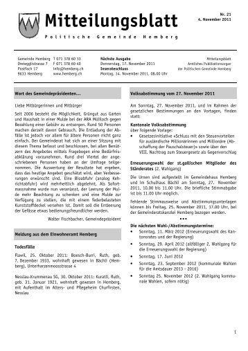 Mitteilungsblatt vom 4. November 2011 [PDF, 586 KB - Gemeinde ...
