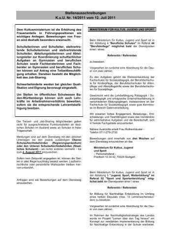 Stellenausschreibungen K.u.U. Nr. 14/2011 vom 12. Juli 2011